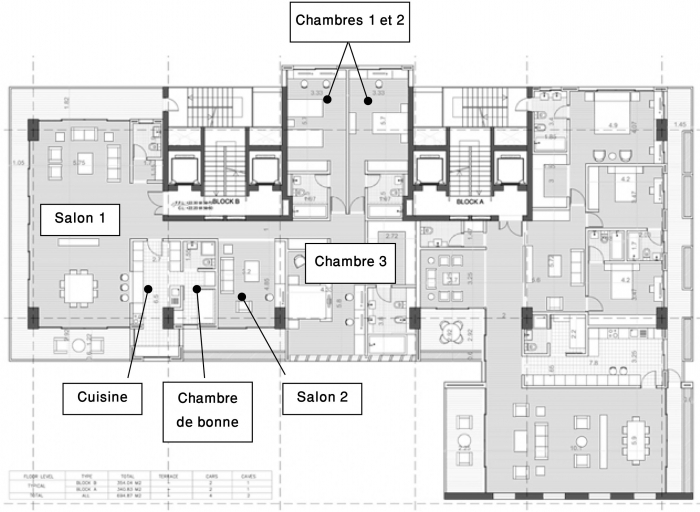 plan appartement echelle