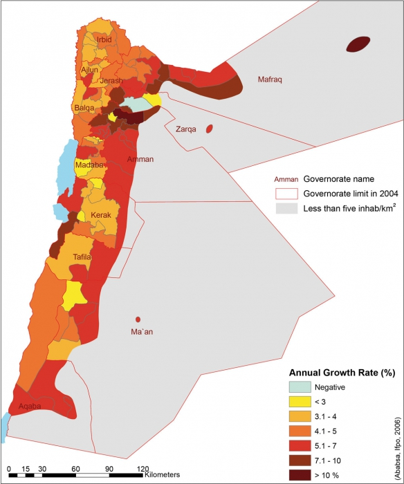 Atlas Of Jordan Changes In The Regional Distribution Of The - 1994 us population changes map