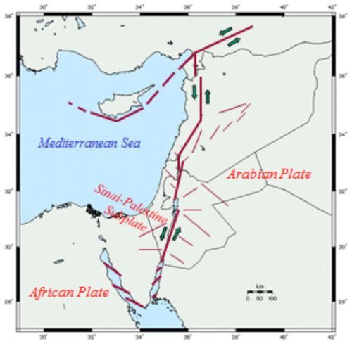 الشكل 7.I: القسَمات التكتونية الرئيسية لشرق البحر المتوسط (المرصد الزلزالي الأردني)