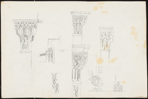 4. Carl von Diebitsch, Study of a two-zoned arabesque capital among other designs, pencil drawing.
