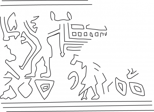 Fig.17–Drawing of fragmentary ancient impression of a cylinder seal impression.