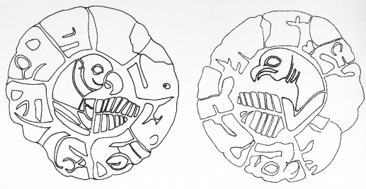 Fig.18–Drawing of a double sided disk in lapis lazuli.