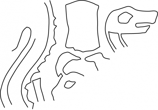 Fig.23–Drawing of fragmentary ancient impression of a cylinder seal.