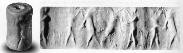 Fig.3–Cylinder seal and modern impression.