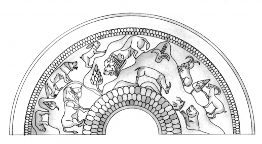 Fig.4–Drawing of wild animals in a mountainous landscape setting rendered in repousée and engraving on a silver vase.