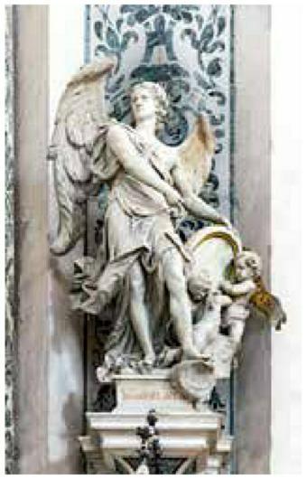 "Catholic Church Archangel Saint Gabriel With Crescent Moon Statue 10/""Tall Angel"