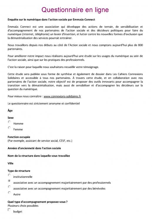 Les connexions solidaires d'Emmaüs Connect - Enquête II ...