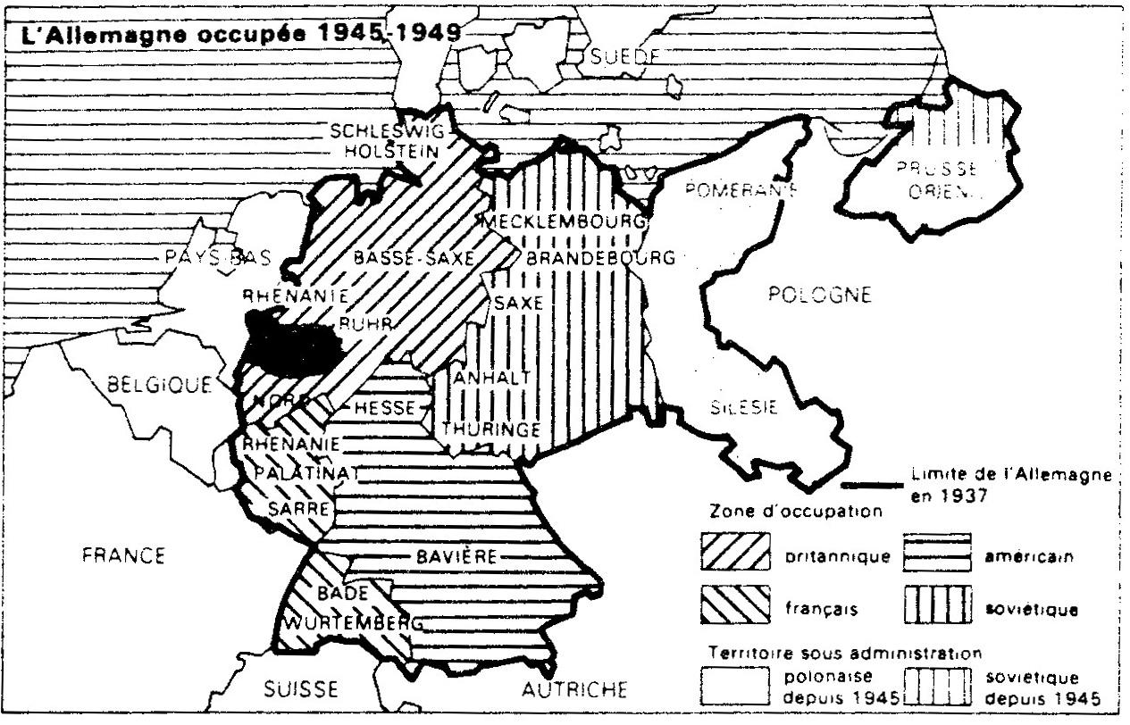 Carte Allemagne Occupee 1945.L Allemagne Occupee 1945 1949 La Rupture Est Ouest Et Ses