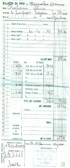 bulletin de salaire 1976